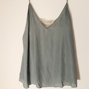 Seafoam Free People Silk Cami with Lace